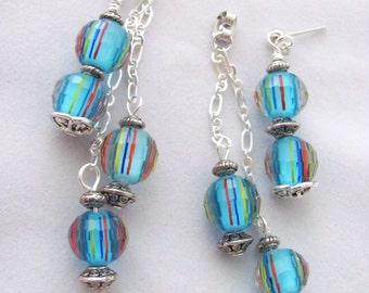 Front Back Earrings Light Blue Earrings Striped Earrings Versatile Earrings Stud Earrings Gift Idea for Girlfriends