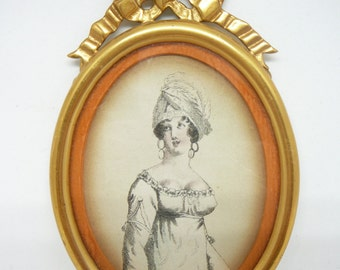Antique Lady Fashion Print  In Oval Frame