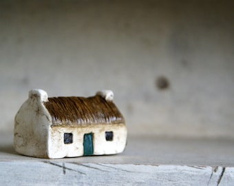 Miniature Irish Cottage Hand Painted Paper Clay -- Handmade in Ireland