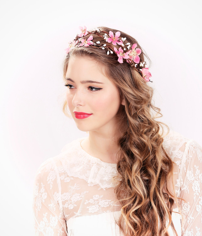 Pink flower crown wedding headpiece flower crown bridal zoom izmirmasajfo Gallery