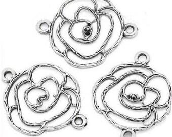 5 antique silver metal flower connectors