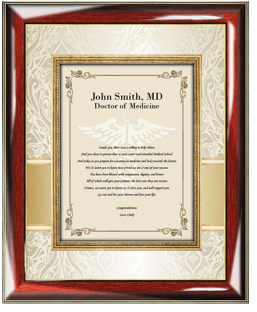 La escuela de medicina personalizada graduación regalo cuadro marco ...