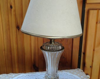 Clear Glass Table Lamp.  A Small Glass Boudoir Vanity Lamp.
