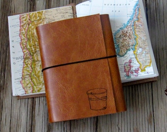 bucket list journal- travel journal, journal with maps, tan faux leather, travel notebook, retirement gift, anniversary gift under 25