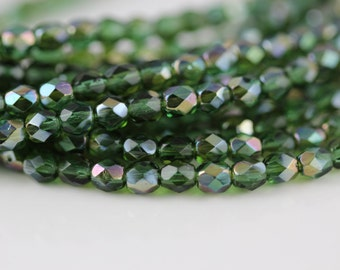 50 Prairie Green-Celsian, 4mm Czech fire-polished glass faceted round (FP-4M-118)
