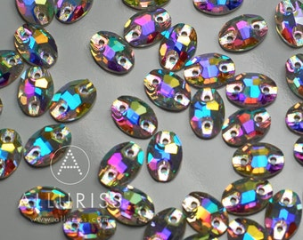 7 x 10mm Oval, 72pcs Aurora Borealis (AB) Crystal, sew on embellishment  flatback