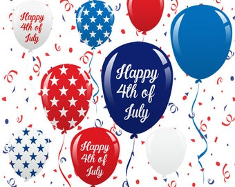 4th of July Balloons Set, Confetti, Patriotic, Independence Day, Culture, Freedom, Holiday, Symbol, Illustration, Cliparts