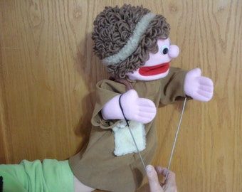 Bibllical boy shepherd Bible  hand puppet  moveable mouth arm rods adult size