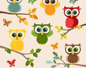 Owl Clipart, Digital Owls, Autumn, Fall, Owl Graphics, Printable, Commercial Use