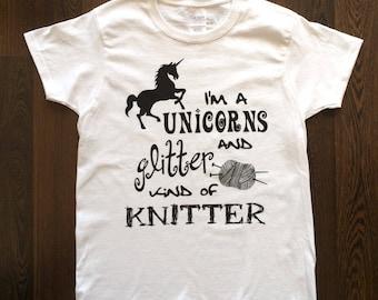 Knitting Shirt, Knitting Tshirts, Gifts for Knitters, Knitting Gifts, Graphic Tee, Unicorn Shirt, Funny Shirts, Womens Tees, Unicorn Tee,