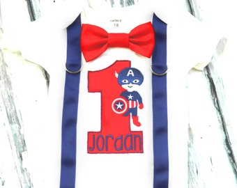 Baby Captain America Theme Super Hero Bow tie and Suspenders set Boy Cake Smash Boy first year outfit Boy number 1, Boy birthday, Boy Second