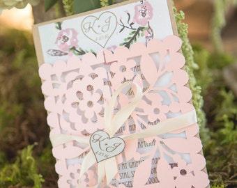 Floral Wedding Invitation Suite Sample - Invitation, RSVP Card and envelopes