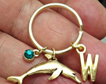 Great Design Pewter Gold ox DOLPHIN personalized  initial KEYCHAIN  With Personalized Birthstone  /J6