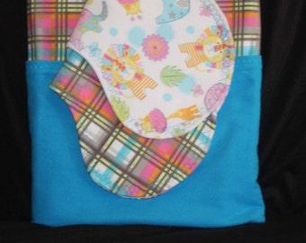 Elephant Lion Pastel Plaid Baby Girl Double Layer Nursery Flannel Pieced XL Receiving Blanket Burp Cloth 3-piece set Nursery Baby Shower