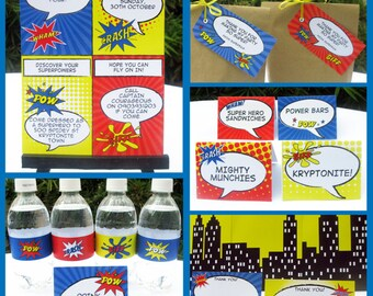 Superhero Party Invitations & Decorations - full Printable Package - INSTANT DOWNLOAD with EDITABLE text - you personalize at home