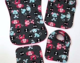 Gift Set - Baby Gift Set - Baby Shower Gift - Girl Baby Gift - Shower Gift - Baby Girl Gift - Puppy Print Gift - Burp Cloth - Bibs