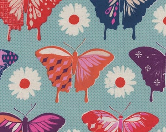 Flutter - Butterflies Aqua - Melody Miller - Cotton and Steel Fabrics - Fabric by the Half Yard