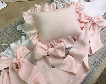 Classic Nursery Linens-Crib Pillow and 3 Crib Bows in Soft Pink Washed Linen-Bright White Washed Linen Crib Bumpers and Crib Skirt