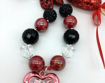 Toddler Girls LOVE Necklace - Red and Black Valentine Chunky Necklace - Valentine Chunky Heart Necklace - Red and Black Necklace