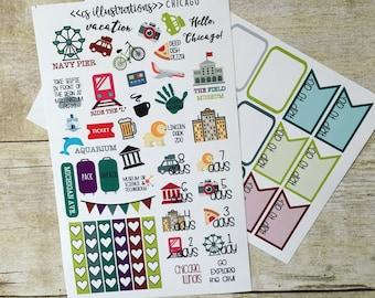 Chicago | Travel Destination Countdown Planner Stickers | Erin Condren, Happy Planner, Passion Planner, Kikki K Planner
