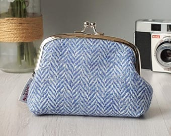 Harris Tweed small clutch purse in blue and white herringbone tweed | metal kiss-lock coin purse frame & cotton lining | Gift for her