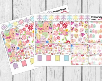 16 Easter Planner Stickers Scrapbook Full Box Half Box Flags Vertical Horizontal Plum PS481 Fits Erin Condren Planners