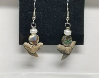 Incredible Fossil Tiger Shark Tooth Pearl & Abalone Earrings