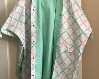 80s Pastel Reversible Poncho / Raincoat / one size / vintage / pink / green / mint / vinyl / storm / womens / small / medium / large / XL