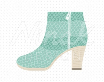 SNAKESKIN ANKLE BOOTS Clipart Illustration - 0054
