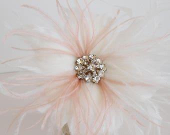 Wedding Feather Flower, Bridal Feather Headpiece, Bridal Feather Accent, Feather Adornment, Bridal Feather Flower, Feather Fascinator
