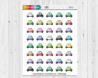 Cute Cars | Planner Stickers | Road Trip | Cars | Drive to Work | Driver's Education | 17358-02