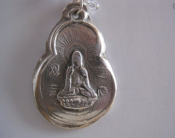 Hand carved Kuan Yin Buddha necklace -