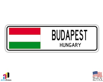 Budapest, Hungary Street Sign Greek Hungarian Flag City Country Road Wall Gift