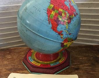 Vintage Ohio Art World Globe Zodiac an Equinox on Base 1930s