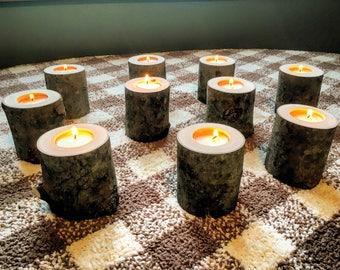 10 Log Candle Holders - Rustic Wedding Decor - Wood Tealight Holder