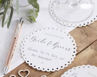 White Wedding Advice Coasters, Wedding Advice Cards, Advice For The Bride & Groom