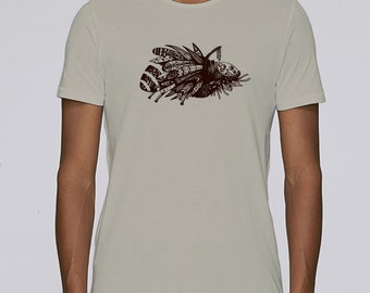Hand Screenprinted T-shirt / Insect / Opal