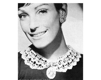 Crochet Collar Pattern 1960s Vintage Peter Pan Collar Pattern Womens Lacy Collar Digital Instant Download PDF-C11