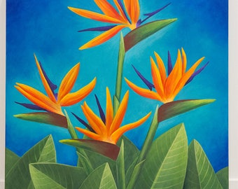 Birds of Paradise painting, colourful art, home decor, flower painting, acrylic on canvas, 24x24 inches