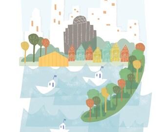 Boston art print illustration - 11x14 - city skyline poster MA