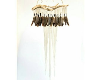 "Driftwood Dreamcatcher, Magpie - 14"", ivory white leather dream catcher"