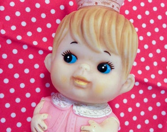 Vintage Japan IWAI Pink Queen Squeeze Toy Baby Big Eye Doll