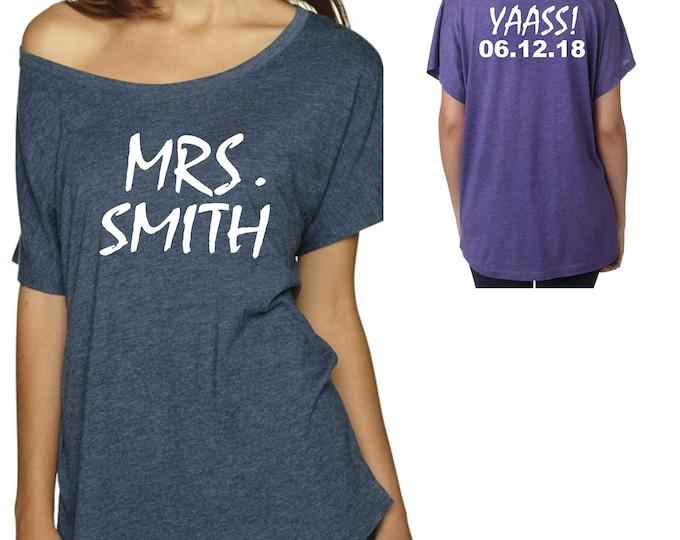 Bride Shirt / Custom Mrs tshirt / Bride Tank Top / Big bride shirt / personalized last name bride tshirt / Womens off shoulder bride shirt
