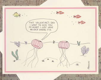 Funny Valentine Card, Jellyfish Card, Valentines Day, Heart Card, Quirky Valentine, Happy Valentines Day, Funny Romance Card