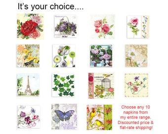 Ten paper napkins at a discounted price. Choose any ten.  Flat rate-shipping.