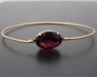 Dark Purple Bracelet, Dark Purple Jewelry, Purple Rhinestone, Purple Wedding Jewelry, Purple Bridesmaid Jewelry