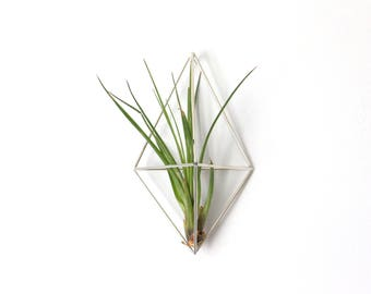 Silver Wall Sconce, Silver Tone Modern Minimalist Himmeli Mobile, Geometric Ornament, Air Plant Holder