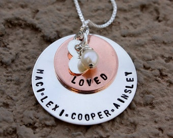 Layered Sterling and Copper Necklace with Charms