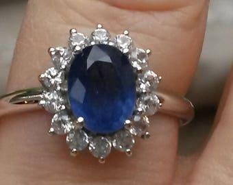 Natural Blue sapphire and natural Zircon halo ring in 925 size 8
