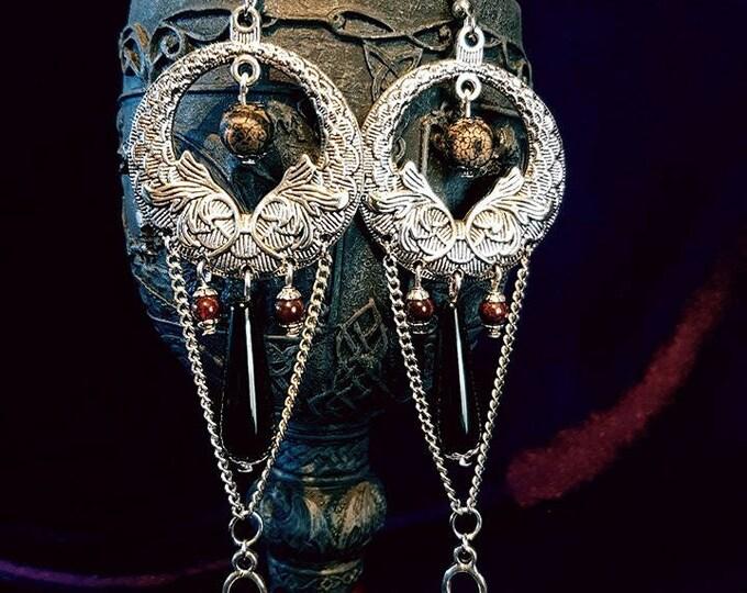 Upper Palaeolithic Inspired Necklace / Earrings or Set - venus van willendorf stoneage fertility goddess gemstones art dzi bead moon goddess